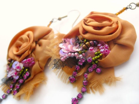 Floral Earrings Bead Embroidered Rhinestones and Silk Roses