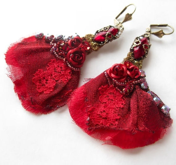Lace earrings with beaded embroidery on red vintage textiles, rhinestones, red roses and filigree