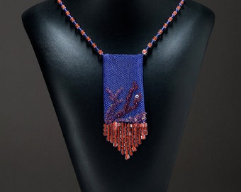 Amulet Bag Necklace made with seed beads and sequins