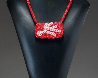 Peyote Stitch Necklace done with red seed beads and white sequins