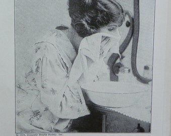 Vintage 1919 Black and White Double Sided Print-Bandage for Preventing Double Chin and Steaming the Face