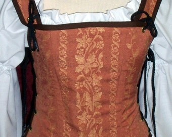 Odd Bodkin Goddess Bodice in Rust / Peach Vine Brocade - Made to Order - redtap23