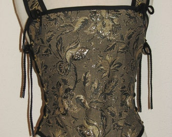 Odd Bodkin Goddess Bodice in Black & Gold Brocade - Made to Order - blktap10