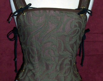 Odd Bodkin Goddess Bodice in Moss/Plum Vine Brocade - Made to Order - purtap7