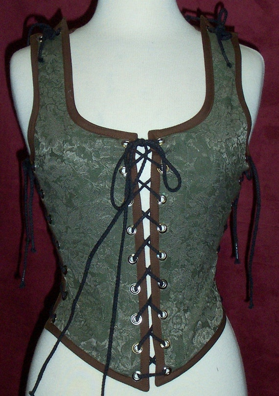 Odd Bodkin Maiden Bodice in Olive Green Esprit Brocade - Made to Order - grntap9