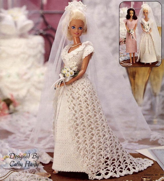 Crocheted Wedding Gown: Vintage Crocheted Fashion Doll Clothes Patterns Wedding Gown