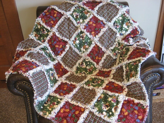 Christmas Snowman and Mittens Rag Quilt Blanket or Couch Throw
