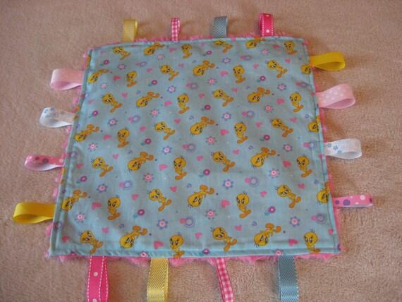 Cute Tweety Bird Baby Girl Sensory Ribbon Tag Lovey