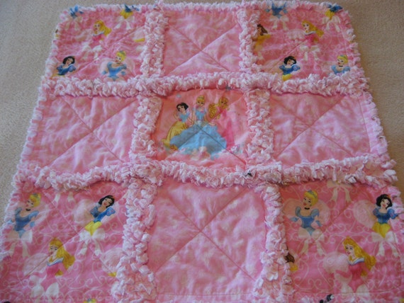 Princess Baby Girl Security or Lovey Rag Blanket or Mini Quilt