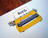 Golden Typewriter Cards - Set of 12 Noteflat cards