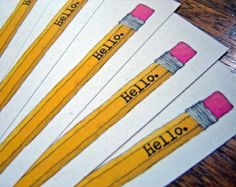 Hello Pencil Stationery - set of 12 note flat cards