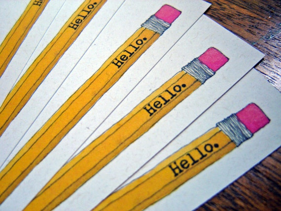 Hello Pencil Stationery - set of 10 note flat cards