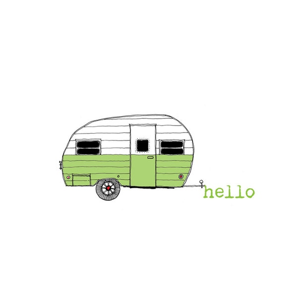 Hello happy camper - set of 12 Noteflat cards - recycled stationery