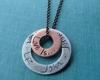 Love Is Custom Hand Stamped Mixed Metal Copper Aluminum Washer Necklace by MyBella