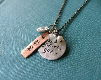 God Gave Me You Aluminum with Copper Custom Hand Stamped Wedding Baby Love Keepsake Necklace by MyBella