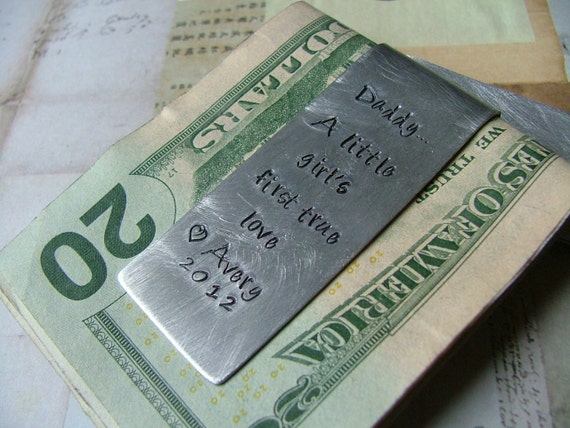 A Daddy Is...Custom Hand Stamped Aluminum Money Clip - by MyBella