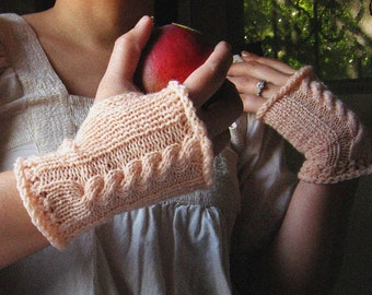 Blush Peach Cable Gloves
