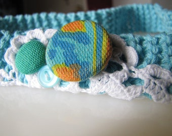 "Knitted Headband in Robin's Egg Blue - ""ione"""
