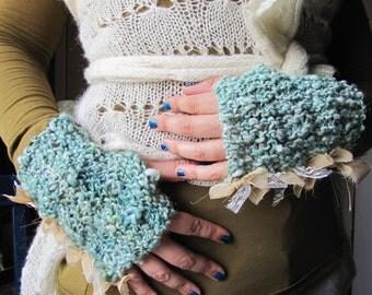 Casually Ruffled Mitts - Hand Spun, Hand Knit - Summer Sea
