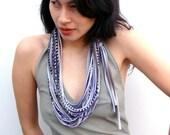 necklushie - spring grey w/ purple, brown and blk print