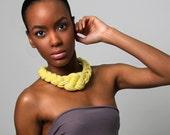 Statement Necklace, Yellow Choker, Yellow Braided Necklace, Braided Necklace Yellow, Yellow African Necklace, African Necklace Yellow