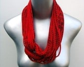 necklush - red with black print