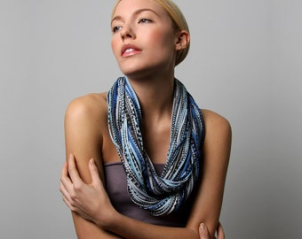 Infinity Scarf, Gifts For Her, Chunky Scarf, Gift Ideas, Gifts for Women, For Her, Winter Scarf, Long Necklace, Blue Scarves, Womens Gift