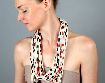 Gifts For Her, Red Striped Scarf, Womens, Black Striped Scarf, Infinity Scarf, Necklace, Gift For Him, Accessories, Scarves