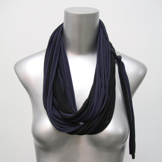 Black Scarf, Blue Scarf, Fall Scarf, Winter Scarf, Autumn, Black Infinity Scarf, Blue Infinity Scarf, Black Blue Scarf, Black Circle Scarf