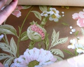 Vintage Wall Paper Roll Gold Background with Flowers Sale