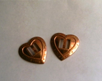 Vintage Copper Plated Heart Findings Supplies Jewelry Making