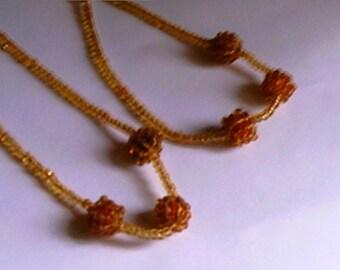 Tiny Beads Necklace Bracelet SetPIF Glass Two Pieces Tourist Souvenir