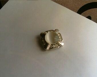 White Stone Pendant Brooch Repair Supply Destash Big