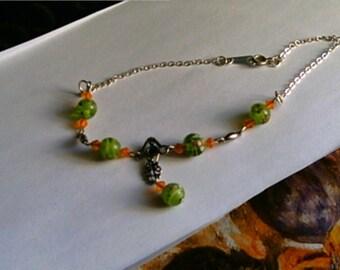Handmade Plus Size Ankle Bracelet Bright Orange Green