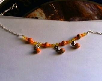 Handmade Ankle Bracelet Plus Size Orange Beads