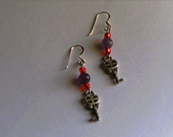 Tiny Key Earrings with Genuine Amethyst Beads