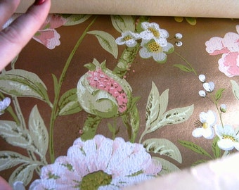 Vintage Wall Paper Roll Gold Background with Flowers