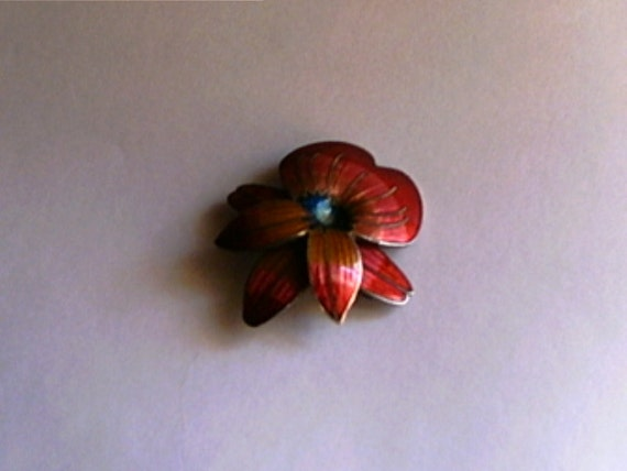 Hibiscus Enameled Brooch Pin