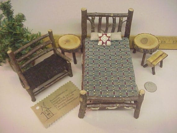 Rustic Miniature Dollhouse Furniture Set Cabin 1 inch Bed Settee Tables Benches Green Red