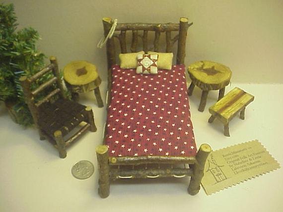 Rustic Miniature Dollhouse Furniture 10 piece Set Log Cabin 1 inch Scale  Bed Red Stars