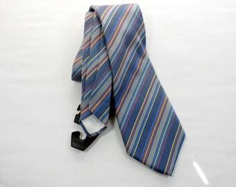 Vintage Guy Laroche Couture Silk Handmade Mens Necktie Stripes