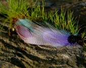 Soothing Tones- Purple and Teal Feather Hair Clip  with 1940's Vintage Glass Cab