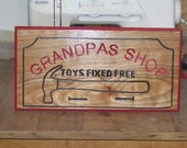 Very Nice Engraved hand painted indoor wood sign for Grandpas Shop made to order