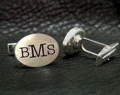 Engraved Mother of Pearl Monogram Personalized Cuff links  - A - Valentines gift for Him