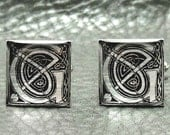 Silver Leaf Celtic Knots Initial Cufflinks - W