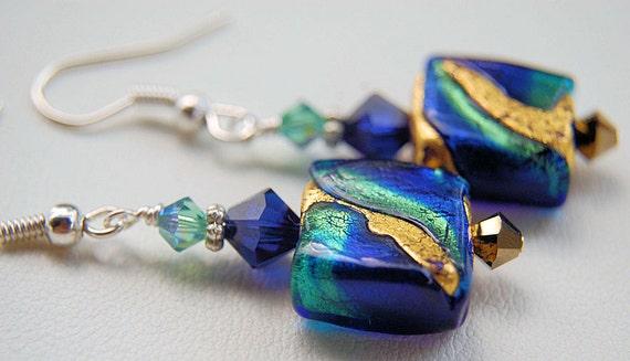 Blue green and gold murano venetian foil glass swarovski crystal earrings