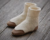 Baby Booties, Leather & Wool, Eco Friendly, Size 12-24 months, Snow Fort
