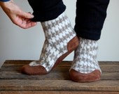 Womens Wool Slippers, Eco Friendly, Leather Bottoms, Size 9.5, Math Class