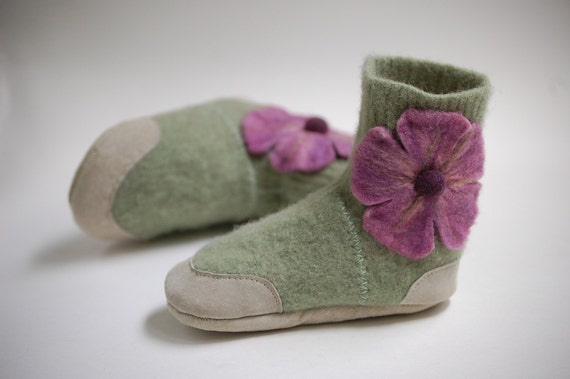 Lambswool Slippers from Upcycled Sweater, Size 6-12 months, Hibiscus