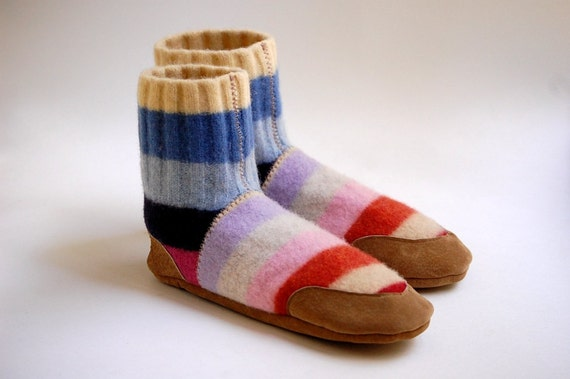 Wool Slippers, Leather Soles, Eco Friendly, youth size 4, women size 5.5, Sleep In, SALE